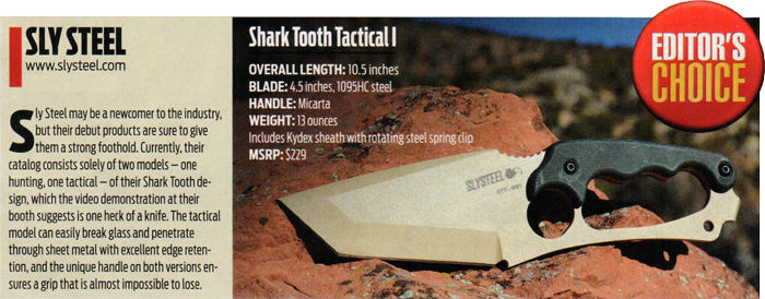 Article clipping of Knives Illustrated Magazine that named the SLYSTEEL Shark Tooth Tactical 2014 Best of SHOT Editors Choice
