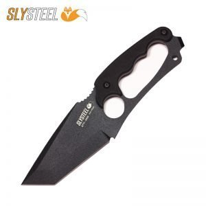 Photo of Shark Tooth Tactical black powder coat knife for firefighting, military and law enforcement by SLYSTEEL