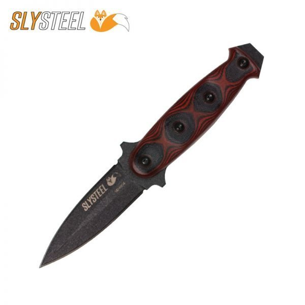 Skeletek Dagger with red-black G10 handle boot knife for self defense, military, and law enforcement by SLYSTEEL