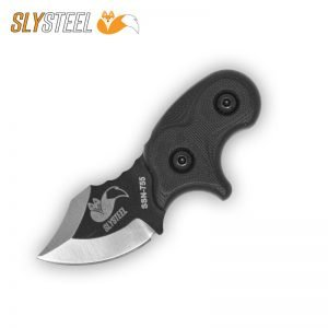 Photograph of a Final Option Blade (FOB) with black Cerakote and clean primary grind neck and belt knife for self-defense and edc.