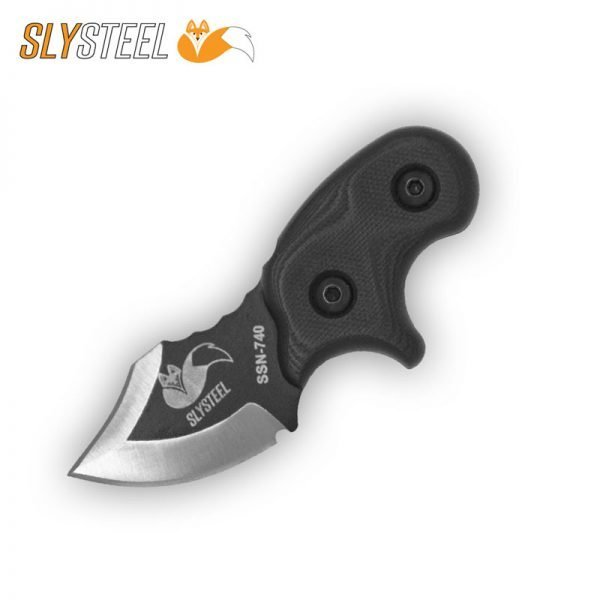 Photograph of a Final Option Blade (FOB) with black Cerakote, dual edge, and clean primary grind neck and belt knife for self-defense and edc.