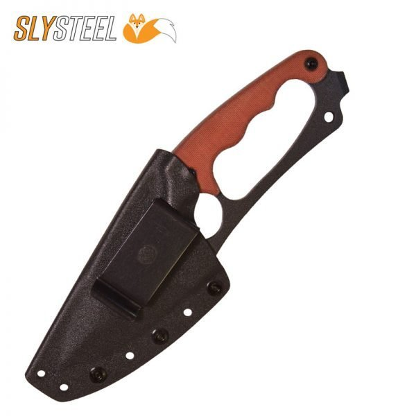 Photo of the Shark Tooth Hunter knife with Kydex sheath, steel spring clip, and tan micarta scales for survivalists hunters and campers by SLYSTEEL.