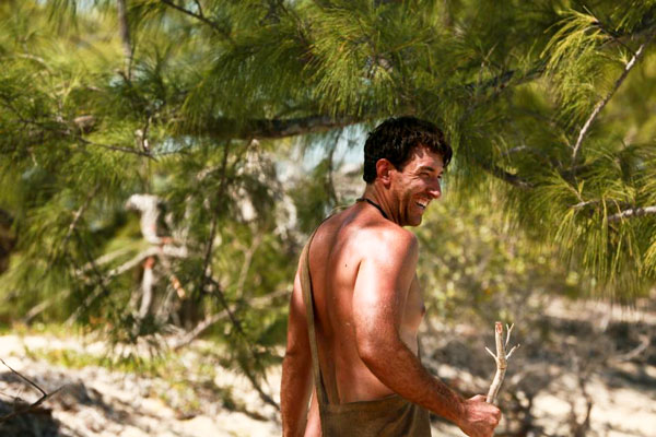 Jeff Zausch laughing in the Bahamas on Naked and Afraid of Sharks 2
